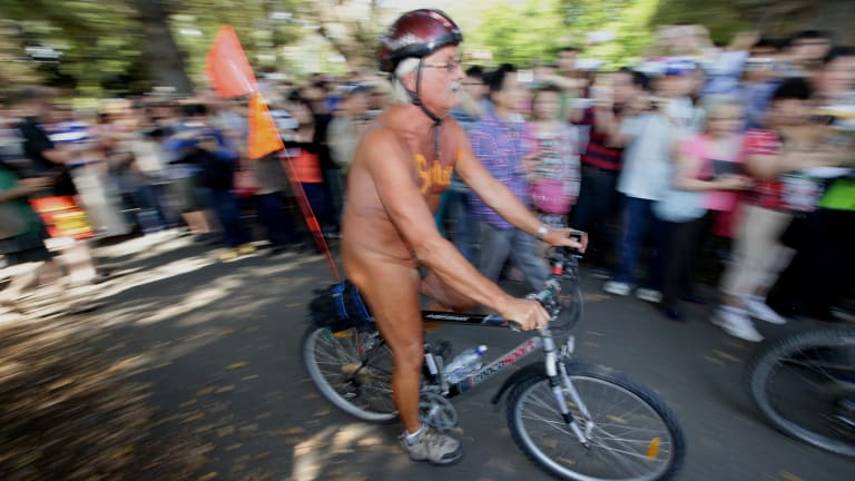 Crowds at Edinburgh Gardens for 2013's World Naked Bike Ride Day.