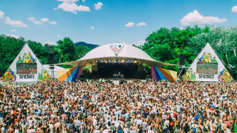 Spilt Milk festival goers watch electronic duo Vallis Alps on Saturday.