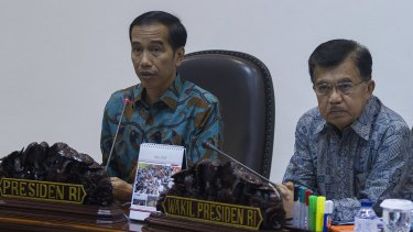 Indonesian President Joko Widodo (left) and Vice-President Jusuf Kalla (right) were divided over the execution of Chan and Sukumaran.