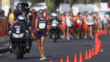 Race drama: Yohann Diniz was the early leader, but collapsed.