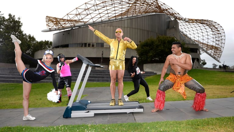 Performance artist Tristan Meecham will run a marathon outside the Arts Centre with other performers during a five-hour extravaganza.