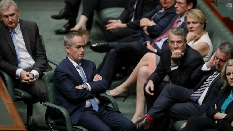 Opposition Leader Bill Shorten and Shadow Attorney-General Mark Dreyfus during a Labor resolution in the House of Representatives on Wednesday.