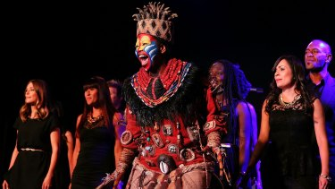 Performers from The Lion King sing on stage at the 10th anniversary celebration of The Million Dollar Lunch at the Park Hyatt.