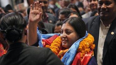 Nepalese president-elect Bidhya Devi Bhandari, of the Communist Party of Nepal Unified Marxist-Leninist, in Kathmandu on Wednesday.