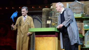 Michael Palin and John Cleese perform on the closing night of 'Monty Python Live (Mostly)' at the O2 Arena in London.