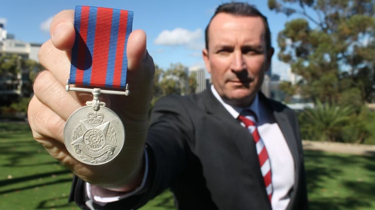 Opposition Leader Mark McGowan and a proposed new WA Police medal for slain or seriously injured officers.