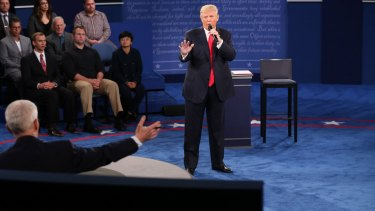 Donald Trump in action during the second debate.