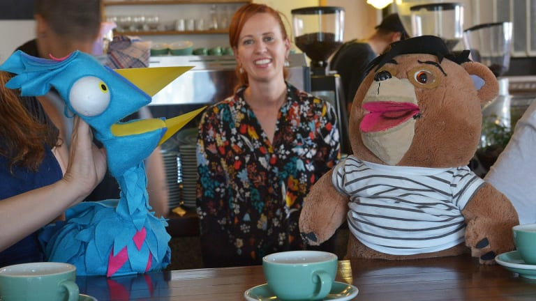 Emma Watts with puppets from the web series Tales From Tinder.