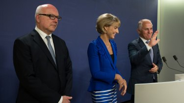 Prime Minister Malcolm Turnbull, Minister for Employment, Senator Michaelia Cash, and Attorney-General Senator George Brandis address the media after the release of the final report from the Royal Commission into Trade Union Governance and Corruption in Sydney.