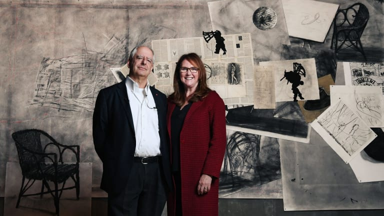 Artist William Kentridge with Naomi Milgrom, the exhibition's principal patron, in front of <i>Seven Fragments for Georges Melies: Day for Night and Journey to the Moon</I>.