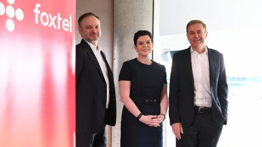 Foxtel's current management - Mark Buckman, Deanne Weir and chief executive Peter Tonagh.