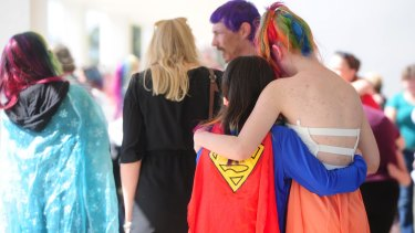 Friends and family dressed in bright colours and as superheroes for the funeral of Nikki Francis-Coslovich in Mildura on Tuesday.