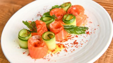 Sweet house-cured salmon is furled with lightly pickled cucumbers