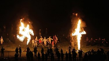 Members of the Ku Klux Klan after a white pride rally in Georgia in April.