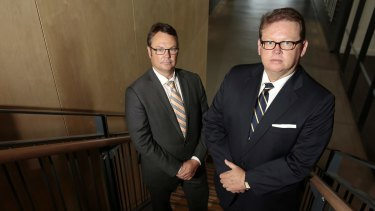 Brumbies chairman Robert Kennedy, left, and former chief executive Michael Jones.