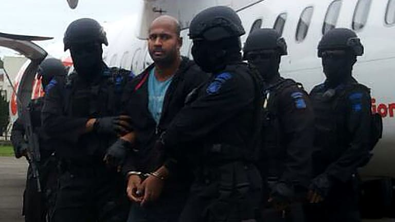 Myuran Sukumaran arrives at Cilacap airport on Wednesday.