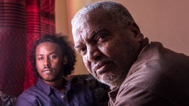 Muktar Hussen, pictured with his son's friend Maxmud Bare, said Mohamud lived like he knew his life was going to be short.
