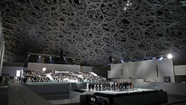 A general view of the Louvre Abu Dhabi Museum designed by French architect Jean Nouvel.