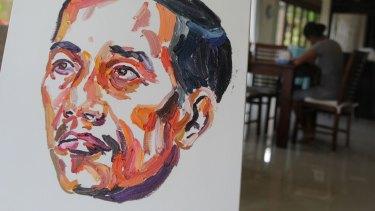A painting of Indonesian President Joko Widodo by Myuran Sukumaran.