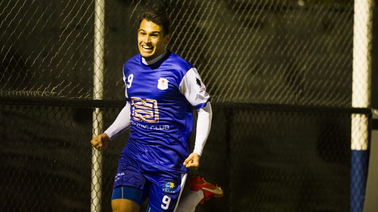 Canberra Olympic's Philipe Bernabo Madrid after his first half  goal in their FFA Cup match against Surfers Paradise Apollo.