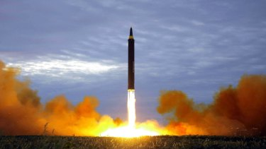 A photo released by North Korean media in August 2017 of the test launch of a Hwasong-12 intermediate range missile.