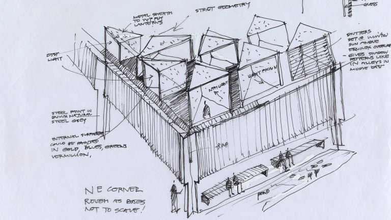 A Glenn Murcutt sketch of the Australian Islamic Centre, part of his exhibition <i>Architecture of Faith</I>.