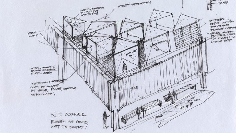 A Glenn Murcutt sketch of the Australian Islamic Centre, part of his exhibition <i>Architecture of Faith</I>.