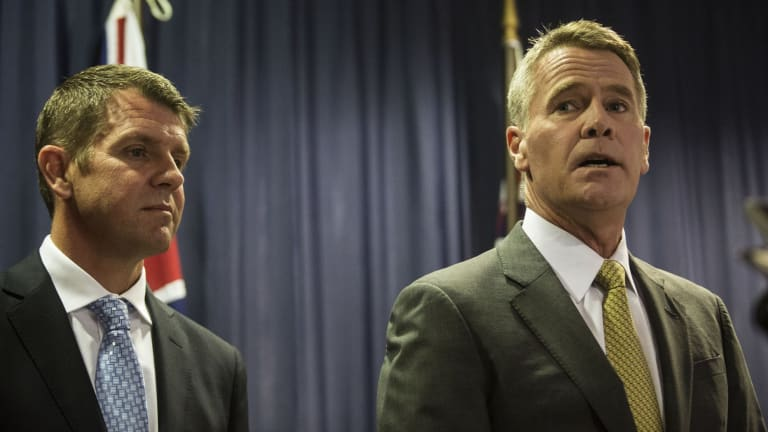 Premier Mike Baird with Mr Stoner when he announced he would leave Parliament.