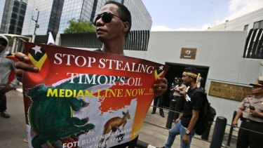 A protester during a rally last year outside the Australian Embassy in Jakarta, as people showed their support to East Timor in the dispute over oil and gas revenue-sharing with Australia.