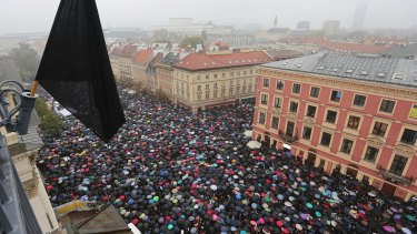A sea of thousands of umbrellas of people participating in the nationwide Black Monday strike to protest a legislative proposal for a total ban on abortion in Warsaw, Poland,