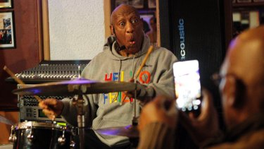 Bill Cosby plays the drums at the LaRose Jazz Club in Philadelphia on January 22, 2018.