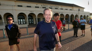 Opposition Leader Bill Shorten and Labor immigration spokesman Richard Marles outside the Bondi Pavillion.