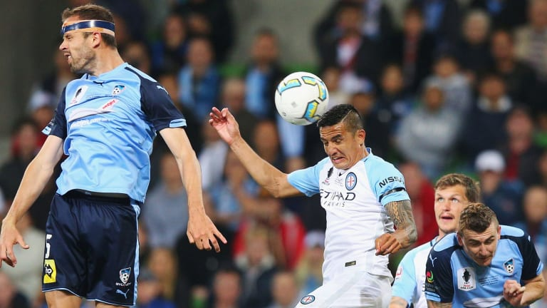 Tim Cahill heads the ball in for a goal in the 53rd minute against Sydney FC in the FFA Cup final on Wednesday night.