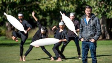 Jonathan Jones with Bangarra Dance Theatre performers.