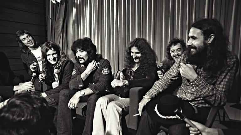 On tour: Black Sabbath meet the Sydney press.