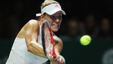 Angelique Kerber on her way to beating Simona Halep in Singapore.