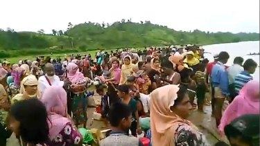 Video released by Arakan Rohingya National Organisation shows Rohingya fleeing to Bangladesh.