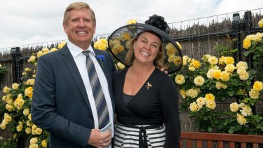 Peter and Carolyn Creswell in the Birdcage during Victoria Derby Day at Flemington Racecourse in 2014.