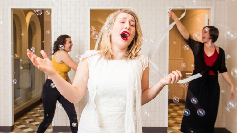 Sally Alrich-Smythe, Jessica Westcott and Britt Lewis in rehearsals for the Chamber Pot Opera, held in a women's bathroom at the QVB earlier this year.