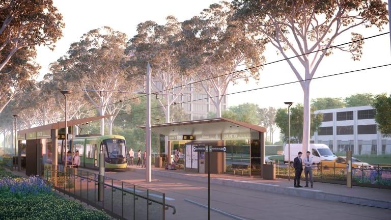 An artist's impression of the Capital Metro Gungahlin tram line.