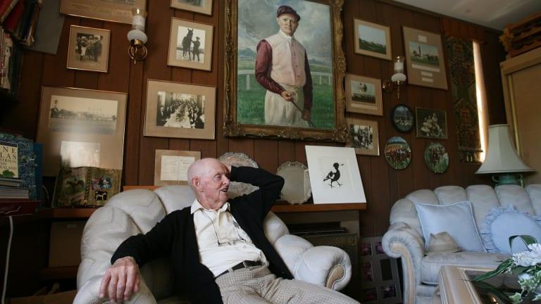 Edgar Britt in his trophy room at his Avalon home, 2010.
