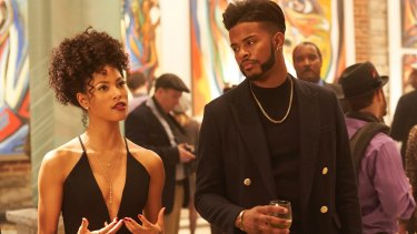 Lex Scott Davis as Georgia and Trevor Jackson  as Youngblood Priest in Superfly.