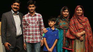 Malala (second from right) with her father Zia, brothers Atal and Khushal and her mother Tor Pekai.