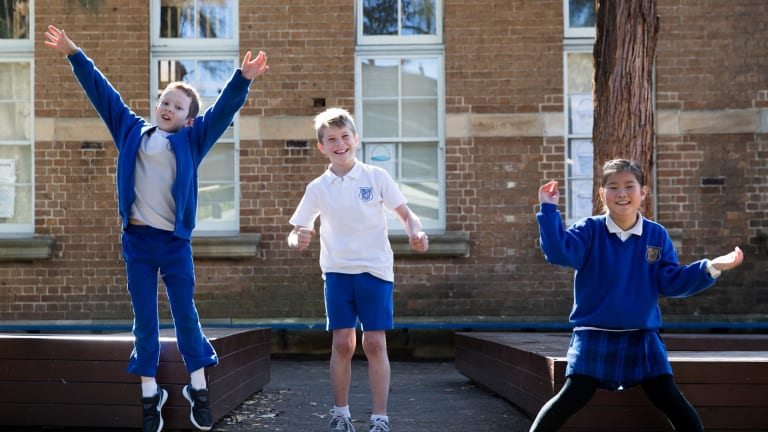 Summer Hill Public School year 4 students, Christian Burger, left, Ben Ryan, and Sooyeon Kim  sat the opportunity class test in Sydney this week.