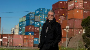 LeadWest chief Craig Rowley in front of an empty container park in Brooklyn.