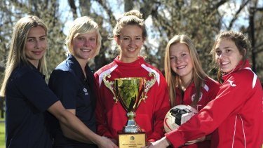 Grace Gill, centre, will lead Canberra FC in the grand final on Sunday.