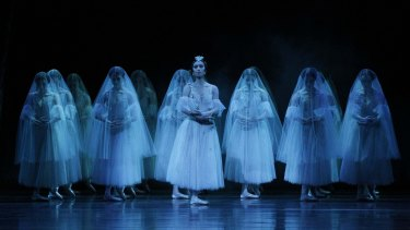 "Myrtha (Ako Kondo),centre, and the Wilis in the second act of ""Giselle""."