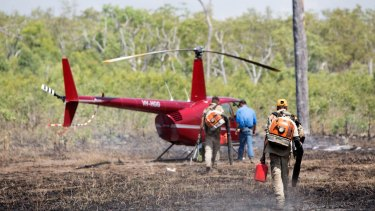 Rangers control a wildfire in the southern area of the Warddeken Indigenous Protected Area, close to Kakadu.