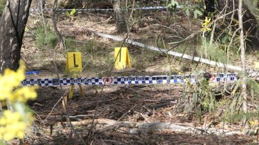The scene in the Belanglo State Forest where Karlie Pearce-Stevenson's bones were found.
