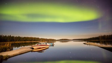 The aurora borealis, or northern lights, is a common sight in Yellowknife, especially in winter.